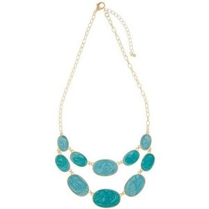 Gold Tone Double Row Blue Enamel Necklace